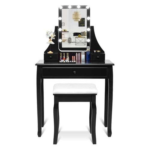 10 LED Lighted Mirror and 3 Drawers Vanity Table Set-Black - Handyman Official Shop