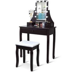 10 LED Lighted Mirror and 3 Drawers Vanity Table Set-Brown - Handyman Official Shop