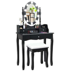 Oval Mirror Vanity Set  with 10 LED Dimmable Bulbs and 3 Drawers-Black