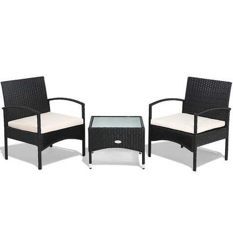 3 pcs Patio Wicker Rattan Furniture Set with White Cushion