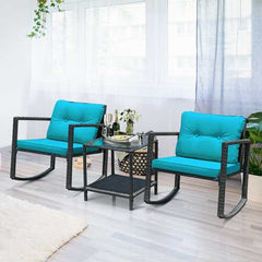 3 Pcs Patio Rattan Set Rocking Chair Cushioned Sofa Garden Furniture-Blue