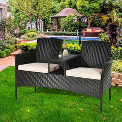Patio Rattan Conversation Set with Table