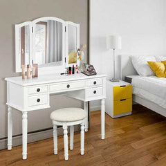 Tri-Fold Mirror Table Stool Wooden Vanity Make Up Dressing Set-White