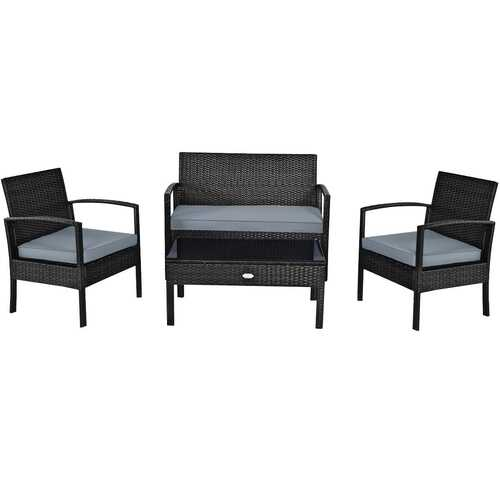 4 PCS Patio Rattan Cushioned Furniture Set -Black