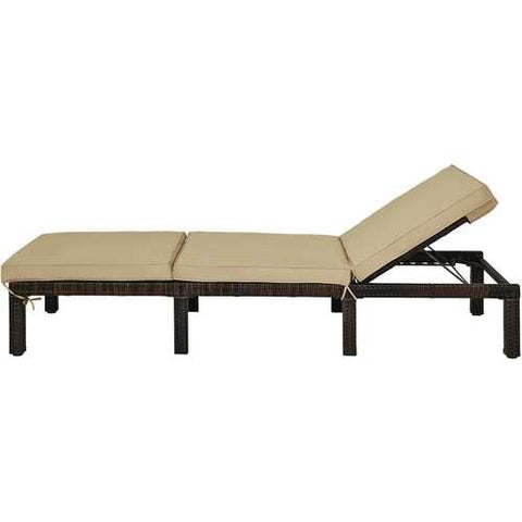 Outdoor Rattan Adjustable Cushioned Chaise