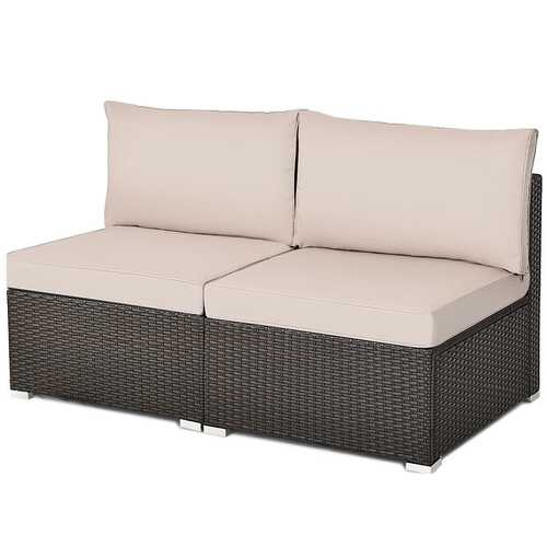 2Pcs Patio Rattan Armless Sofa with Cushion-Brown