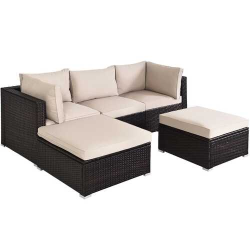 5PCS Patio Rattan Sectional Conversation Ottoman Furniture Set-Beige