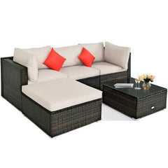 5 Pieces Outdoor Patio Rattan Furniture Set With Cushions-Beige