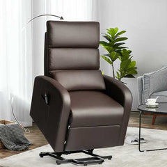 Electric Power Lift  Leather Recliner Chair-Coffee