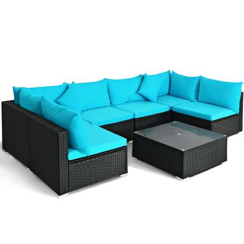 7-Piece Outdoor Wicker Patio Sofa Set-Turquoise