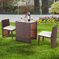 3 pcs Cushioned Outdoor Wicker Patio Set