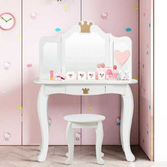 Kids Makeup Dressing Table with Tri-folding Mirror and Stool-White