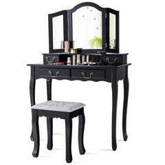 Tri Folding Mirror Makeup Dressing Vanity Set with 4 Drawers-Black