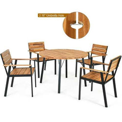 5 pcs Patio Dining Chair Set with Umbrella Hole