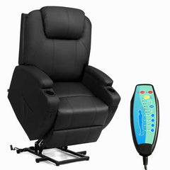 Electric Lift Power Recliner Heated Vibration Massage Chair-Black