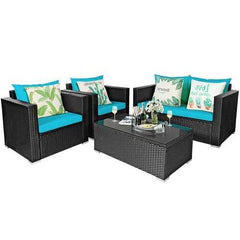 4 PCS Patio Rattan Cushioned Furniture Set-Turquoise