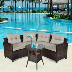4 Pcs Furniture Patio Set Outdoor Wicker Sofa Set
