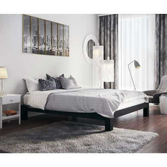King Black Metal Platform Bed Frame with Wide Wood Slats