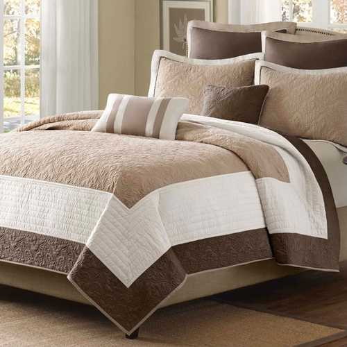 King Brown Ivory Tan Cream 7 Piece Quilt Coverlet Bedspread Set