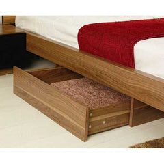 King Brown Wood Modern Platform Bed Frame with Headboard and 2 Nightstands