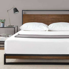 King size Metal Wood Platform Bed Frame with Headboard