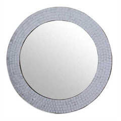 Modern Round Circular Bathroom Wall Mirror with Mosaic Glass Silver Frame