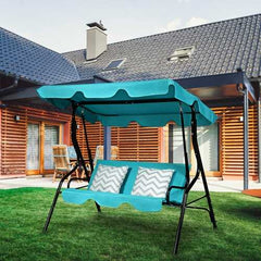 3 Seats Patio Canopy Cushioned Steel Frame Swing Glider Hammock-Blue