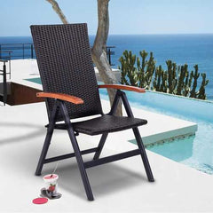 Patio Adjustable Aluminum Folding Back Rattan Recliner Chair