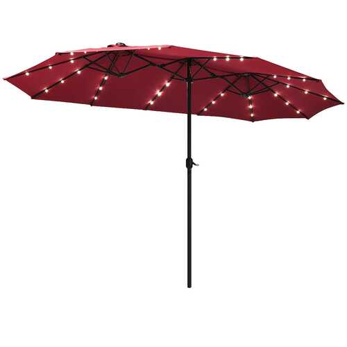 15 Ft Patio LED Crank Solar Powered 36 Lights  Umbrella-Burgundy