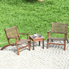 3PCS Outdoor Wooden Patio Rattan Furniture Set