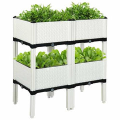 Set of 4 Elevated Flower Vegetable Herb Grow Planter Box
