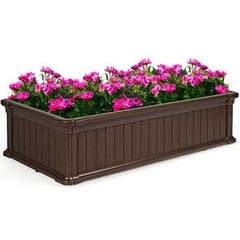 2 PCS Raised Garden Rectangle Plant Box-Brown