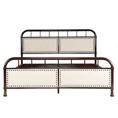 Queen Dark Brown Metal Platform Bed with Upholstered Panel Headboard Footboard
