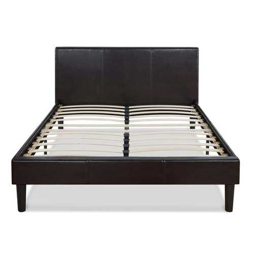 Queen Modern Platform Bed with Dark Brown Upholstered Faux Leather Headboard