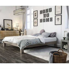 Queen size Champagne Metal Platform Bed Frame with Wood Slats