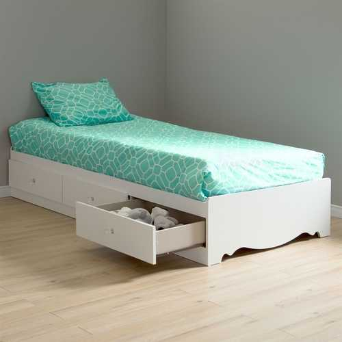 Twin size White Wood Platform Day Bed with Storage Drawers
