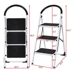 Heavy Duty Industrial Lightweight Folding Stool 3 Step Ladder - Handyman Official Shop