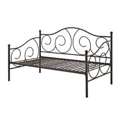 Twin Scrolling Metal Day Bed Frame in Contemporary Brushed Bronze Dark Pewter