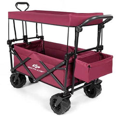 Collapsible Garden Folding Wagon Cart with Canopy-Wine