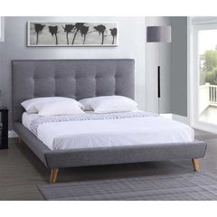 Queen Modern Grey Linen Upholstered Platform Bed with Button Tufted Headboard