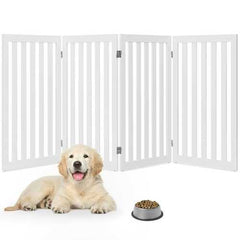 Folding 4-Panel Dog Gate Pet Fence in White Wood Finish