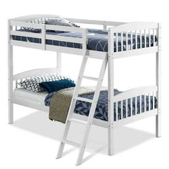Twin over Twin Wooden Bunk Bed with Ladder in White Wood Finish