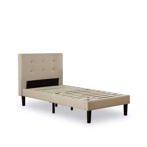 Twin size Taupe Fabric Upholstered Platform Bed with Tufted Headboard