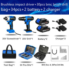 20V Electric Impact Drill + Cordless Screwdriver Optional Set