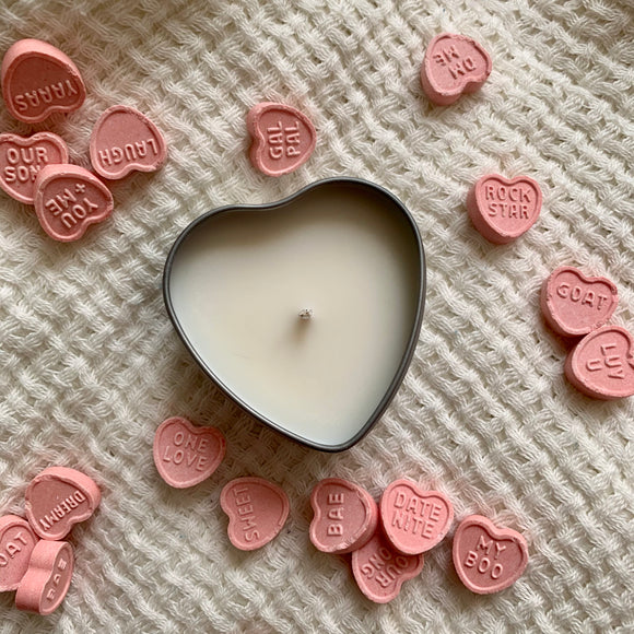 Mini heart tin soy candle