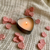 Small pink candy hearts soy candle