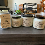 Various sizes of Dark Linen Soy Candles