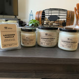 Various sizes of Lavender Vanilla Soy Candles