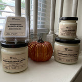 Various sizes of Pumpkin Spice Latte Soy Candles