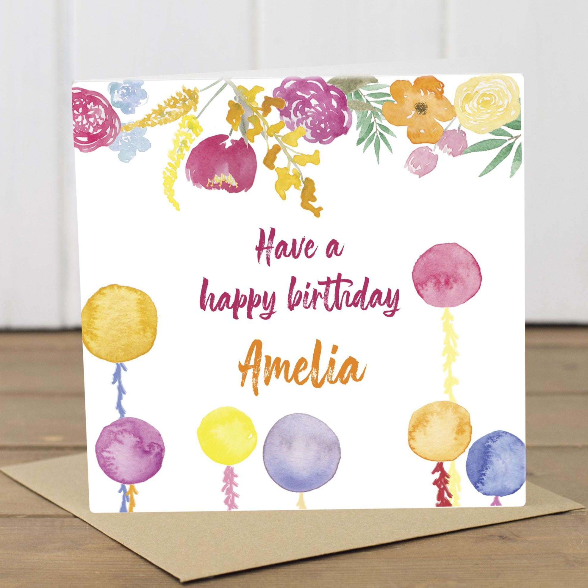 Personalised Bright Flowers Birthday Card - Yellowstone Art Boutique